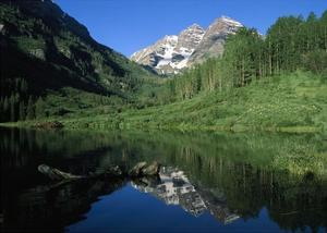 Maroon Bells at Maroon Lake with Cottonwood trees, Colorado by Tim Fitzharris