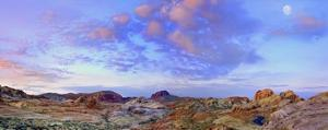 Moon over sandstone formations, Valley of Fire State Park, Nevada by Tim Fitzharris