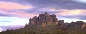Panoramic view of the Superstition Mountains at sunset, Arizona by Tim Fitzharris