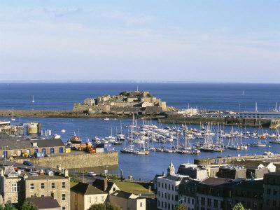 Aerial View of Castle Cornet, St. Peter Port, Guernsey, Channel Islands, U.K.