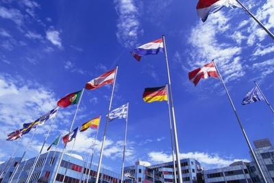 Flags of Europe in Front of the Europazentrum, Kirchberg, Luxembourg