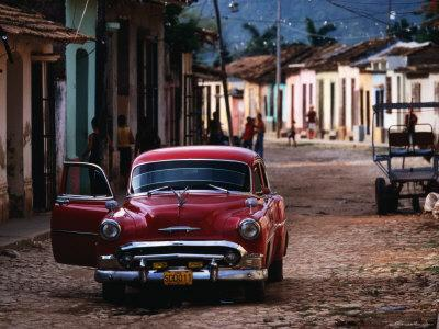 Classic American Car on Cobbled Street