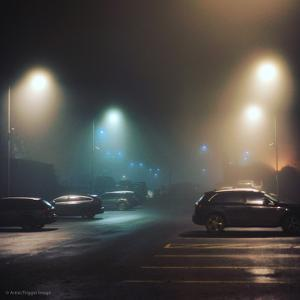 Cars in Car Park with Fog at Night by Tim Kahane