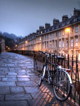 Night Winter Street Scene in Bath, Somerset, England by Tim Kahane