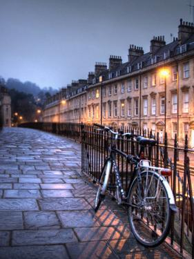 Night Winter Street Scene in Bath, Somerset, England by Tim Kahane