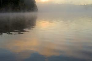 A thin mist cover and and cloud reflections on the surface of Walden Pond. by Tim Laman