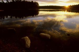 Clouds reflect in the Walden Pond at sunrise. by Tim Laman