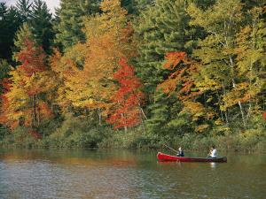 Father and Son Fish from a Canoe Amid the Autumn Foliage by Tim Laman
