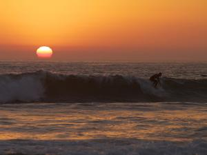 Surfer Riding a Wave at Sunset over the Pacific Ocean by Tim Laman