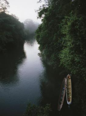 Two Long Canoes on a River Running Through the Costa Rican Rainforest by Tim Laman