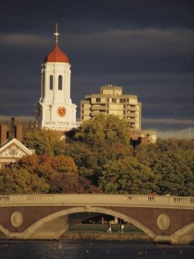 View of Harvard University Behind a Bridge Crossing the Charles River by Tim Laman