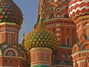 Coloured Walls and Domes of St Basils Cathedral (Pokrovsky Cathedral) in Red Square by Tim Makins