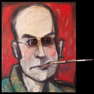 Hunter S Thompson with Cig Black by Tim Nyberg
