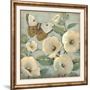 Butterfly and Hollyhocks II by Tim O'toole