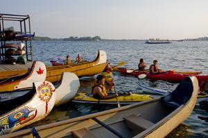Boaters at Harbourfront Kayak Centre in Toronto by Tim Thompson