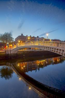Ha'Penny Bridge and River Liffey at Dusk by Tim Thompson