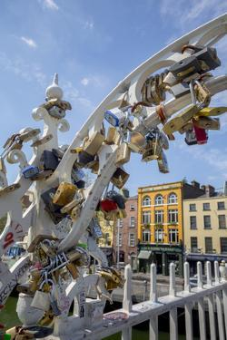 Ha'Penny Bridge with Locks Left by Visitors by Tim Thompson