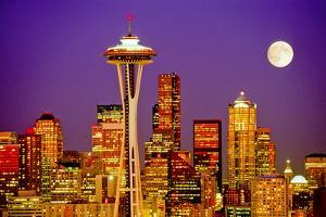 Seattle Skyline and Space Needle At Night From Queen Anne Hill by Tim Thompson