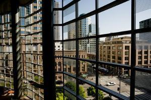 Seattle Skyscrapers As Seen Through a Window in Benaroya Hall by Tim Thompson