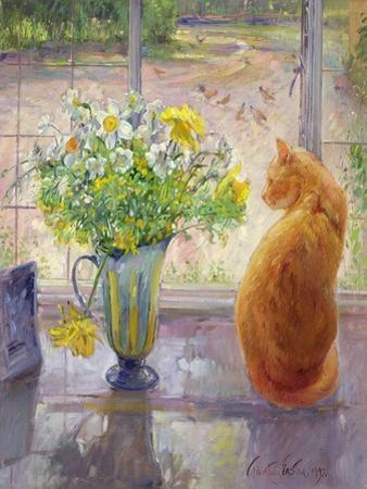 Striped Jug with Spring Flowers, 1992 by Timothy Easton