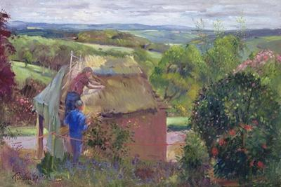 Thatching the Summer House, Lanhydrock House, Cornwall, 1993 by Timothy Easton