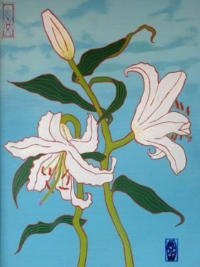 White lily on a blue background, 2010 by Timothy Nathan Joel
