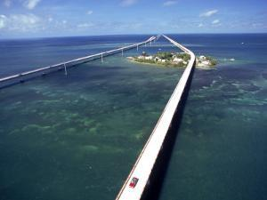 Aerial of 7 Mile Bridge, Pigeon Cay, Florida Keys by Timothy O'Keefe