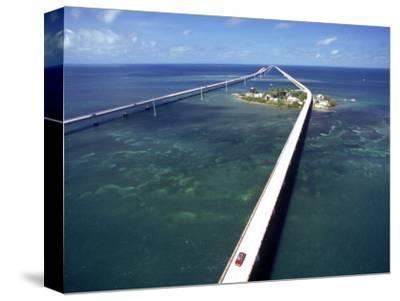 Aerial of 7 Mile Bridge, Pigeon Cay, Florida Keys