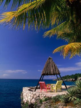 Rock House with Colorful Chairs, Negril, Jamaica by Timothy O'Keefe