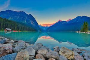 Good Mornig Lake Louise. {Panoramic View of the World Famous Lake Louise from Shore Line to Victori by Timothy Yue