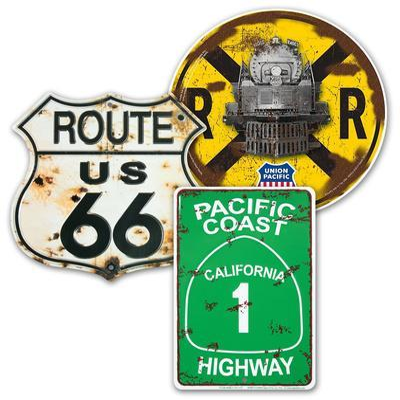 Tin Road Signs Set