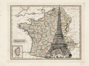 Eiffel Tower Map by Tina Carlson