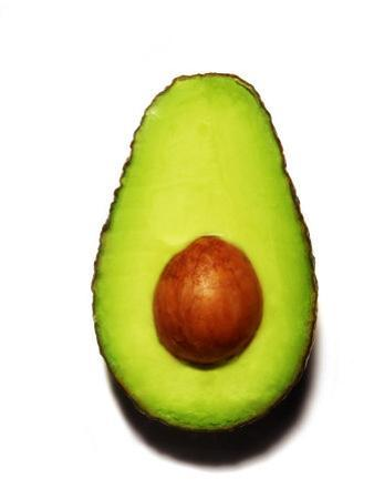 Half an Avocado on a White Background