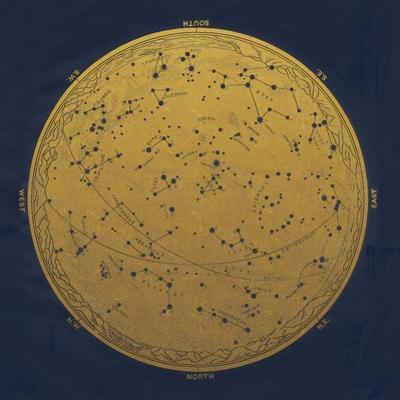 Antique Gold Map Of The Night Sky by Tina Lavoie