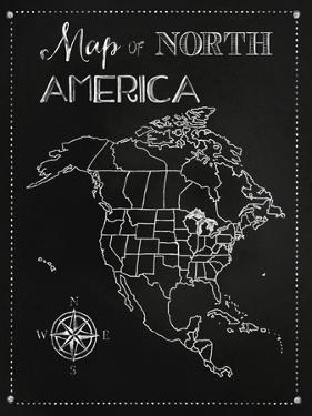 Chalk Map of North America by Tina Lavoie