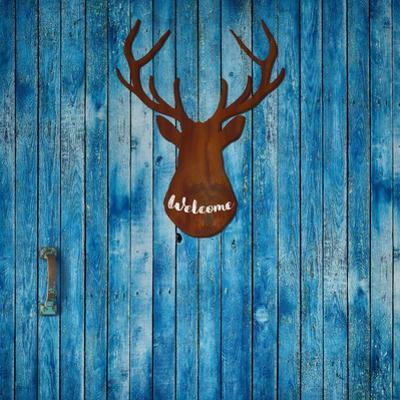 Old Door and Stag Welcome by Tina Lavoie
