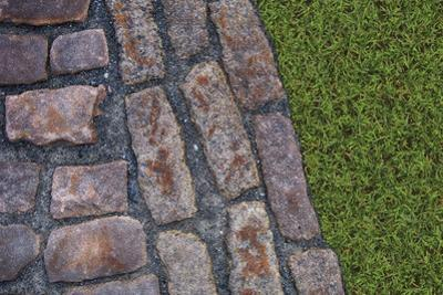 Old Montreal Cobblestones and Grass 01 by Tina Lavoie