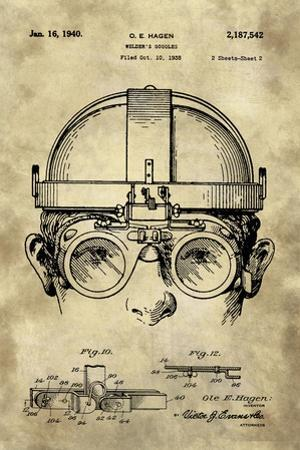 Welding Goggles Blueprint Detail Drawing - Industrial Farmhouse by Tina Lavoie