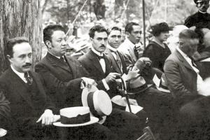 Jose Vasconcelos and Diego Rivera During an Outdoor Event at Chapultepec Park, Mexico City, 1921 by Tina Modotti