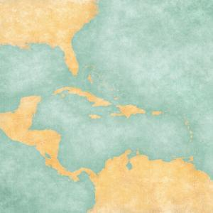Map Of Caribbean - Blank Map (Vintage Series) by Tindo