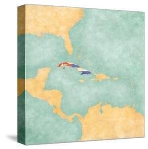 Map Of Caribbean - Cuba (Vintage Series) by Tindo