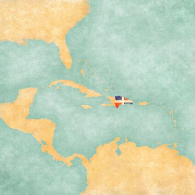 Map of Caribbean - Dominican Republic (Vintage Series) by Tindo