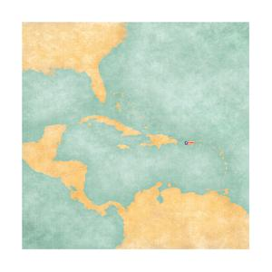 Map Of Caribbean - Puerto Rico (Vintage Series) by Tindo