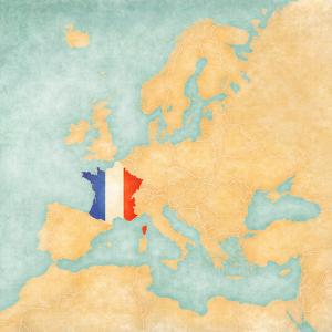 Map of Europe - France (Vintage Series) by Tindo