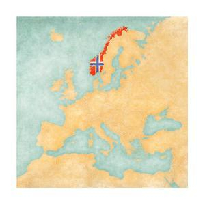 Map of Europe - Norway (Vintage Series) by Tindo