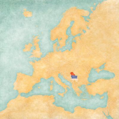 Map of Europe - Serbia (Vintage Series)