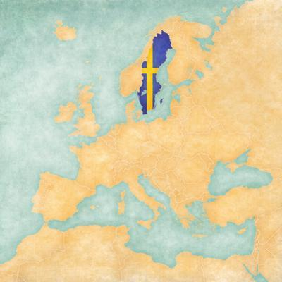 Map of Europe - Sweden (Vintage Series) by Tindo