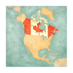 Map Of North America - Canada (Vintage Series) by Tindo