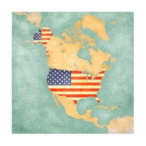 Map of North America - USA (Vintage Series) by Tindo