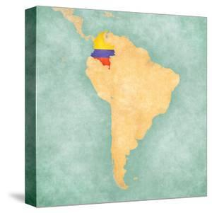 Map Of South America - Colombia(Vintage Series) by Tindo